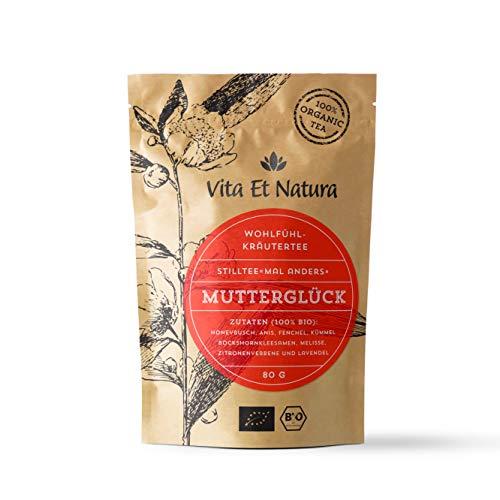 """Vita Et Natura BIO Stilltee """"Mutterglück"""" - 100% biologischer Milchbildungstee - 80 g loser Kräuter-Tee mit Bockshornklee - Stillzeit - Koffeinfrei"""