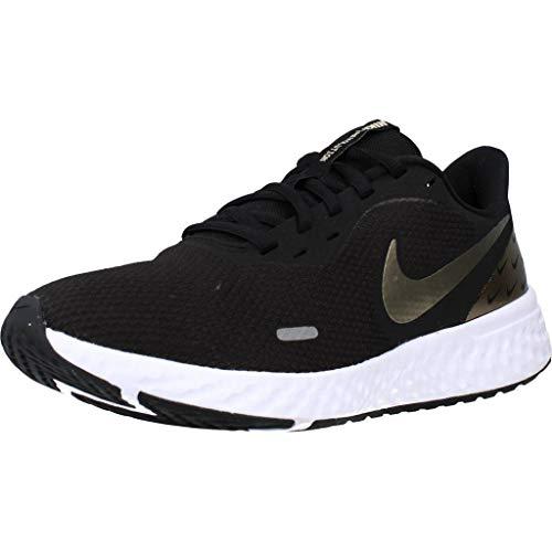 Nike Revolution 5 Zapatillas de running para mujer, color negro/dorado metálico, talla 36,5 normal