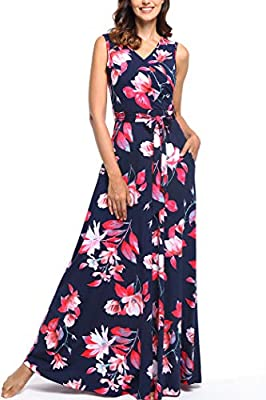 SUMMER MAXI DRESSES fabric is very comfortable and stretchy, can be easily to dress up and dress down. The high quality summer dresses is super soft and lightweight, but it is not thin enough to be see through. Summer sleeveless bohemain vacation lon...
