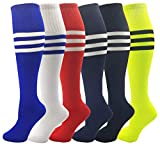 Kids Soccer Socks, 6 Pairs for Boys Girls, Youth Knee High Athletic Sports Football Gym School Team Pack for Children