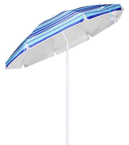 Spetebo Alu Sonnenschirm mit 50+ UV Schutz - knickbarer Schirm mit 200 cm Durchmesser - Strandschirm mit stabilem Erdspieß Ø 3 cm