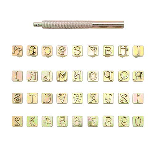 Yoption 37 Pieces Leather Stamping Tool Set, 26 Letters Alphabet & 10 Numbers Stamps Steel Punch Tool 9mm + 1 Stamping Handle for Leather Craft