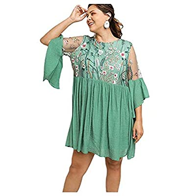 STYLE: Women's Boho casual dress has bell shaped ruffled sleeves and embroidered floral pattern in bodice giving ladies a lovely vintage look SIZE & COLOR: This bohemian tunic dress is available in a wide range of colors and various sizes to choose f...