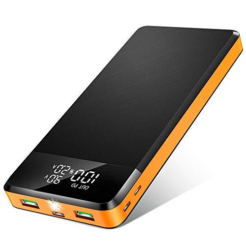 Power Bank 26800mAh, 【2020 Nuovo】 Caricabatterie Portatile con 5 Porte, 2 USB con QC 3.0 PD18W e USB C, Display Digitale LED e Torcia, Carica Veloce Batteria Esterna per Cellulare, Tablets (Arancia)