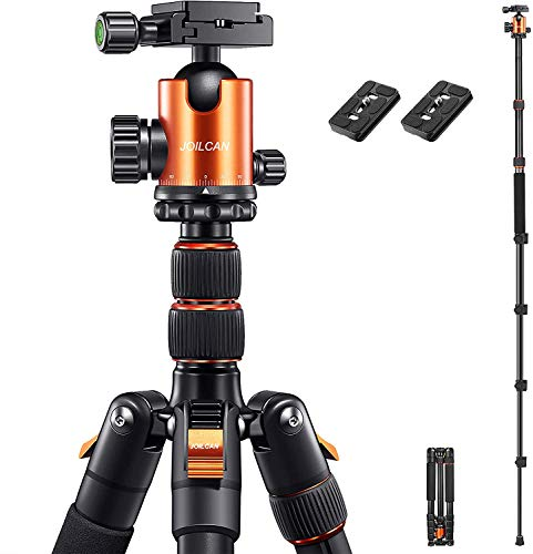 "JOILCAN 81"" Tripod, Aluminum Camera Tripod for DSLR, Compact Tripod Monopod 360° Panorama Ball Head with 2 Quick Release Plates, 16.5"" When Folded, 25 lbs Loads -Orange"