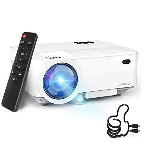 HOPVISION Retroprojecteur,5000 Lumens Mini Projecteur 1080P Full HD,Vidéoprojecteur avec 240' Display, Projecteur Portable 80000 Heures Compatible avec HDMI/USB/SD/AV/VGA