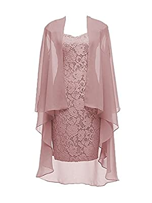 Item Feature:Two Pieces with Jacket,Square Neck,3/4 Sleeves,Sheath Column Style,Knee Length,Lace up in Back,Built-in Bra. NOTICE: Before you place the order, please read the LEFT Size Chart Picture carefully (Not the Amazon size chart).If no size fit...