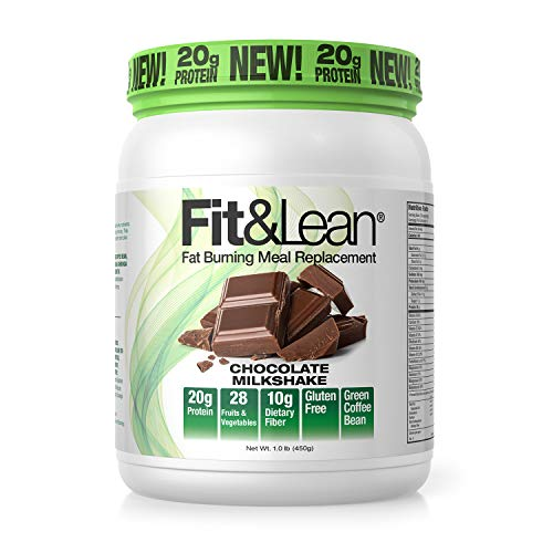 Fit & Lean Meal Shake Fat Burning Meal Replacement with Protein, Fiber, Probiotics and Organic Fruits & Vegetables and Green Tea for Weight Loss, 1lb, Chocolate, 10 Servings Per Container 1