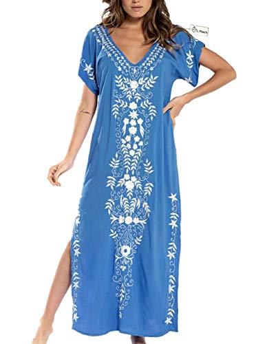L-Peach Vestido Largo con Floral Bordado Mujer, Azul Bordado