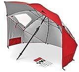 Sport-Brella Premiere UPF 50+ Umbrella Shelter for Sun and Rain Protection (8-Foot, Red)