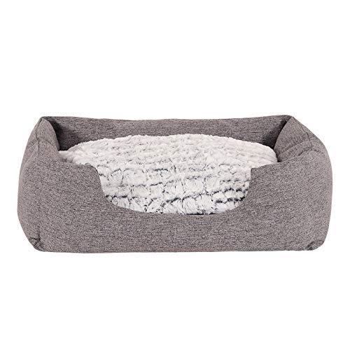 lionto by dibea Letto per cani tessuto melange divano per cani cuscino da pavimento reversibile (M) 80x60 cm Grigio