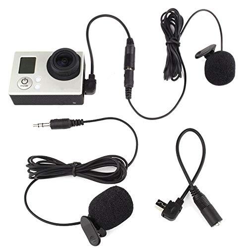 ABMBERTK Mini Microfono a Clip Nero da 3,5 mm, con Cavo Adattatore Adatto, per videocamera GoPro Hero, Nero