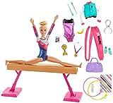Barbie Métiers coffret poupée Gymnaste blonde en justaucorps avec poutre et...