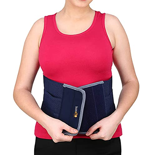 kossto abdominal belt after delivery for tummy reduction, Lumbo Sacral, Lower Back Brace provides Back Pain Relief - Breathable Belt for Men and Women (Universal size)