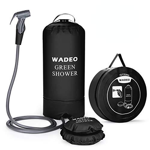 WADEO Campingdusche mit Pumpe, Druckdusche Dusche Tasche Reisedusche 15 Liter mit Duschkopf tragbare und Abnehmbarem Schlauch Duschen Beutel Shower für Wandern, im Freien, Klettern (Schwarz)