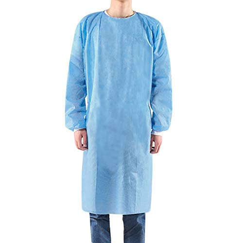 Disposable Quarantine Protective Gown - Full Body Isolation Blue Gown Suit (Pack Of 10)