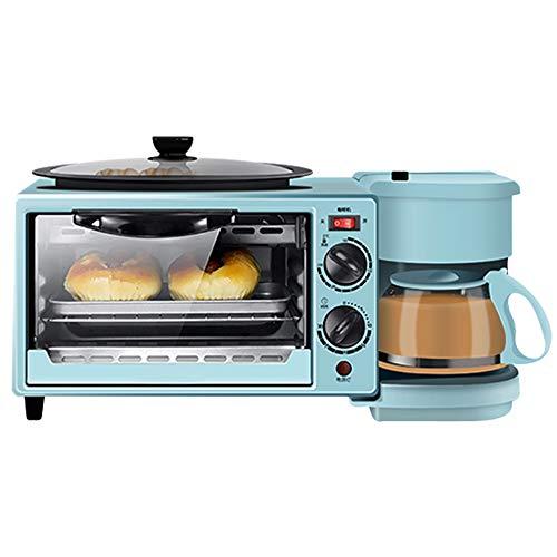 Toaster 3In1 Frühstücksmaschine Backofen Eierkocher Mit Eierkocher Edelstahl Miniofen Kompakter Kaffeemaschine Frühstücksofen Für 9L Toasten Mit Timing 30Min/Eierkochen/Omelett/Dampfgaren,Blau