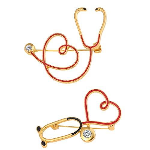 Tomaibaby 2 Pins de Broche Estetoscopio Lindo Broche de Medicina Médica Enfermera Doctor Bolsa de Escuela Pin Insignias para Pechugas Accesorios de Disfraz Regalos de Graduación