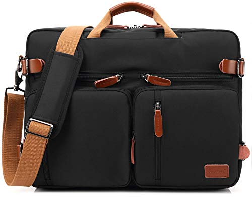 414gIAT7uwL Dimensions: 18.8 x 5.1 x 13.7 inches; Fits up to 17.3 inches laptop. Three carrying styles. You could use it as backpack shoulder bag and messenger bag. Also the straps can be hidden when you use it a messenger bag and shoulder bag. Four outside pockets, convenient to oganize your items you want to carry.