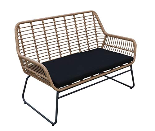animal-design Gartensofa Sunshine Lounge Couch Polyrattan Balkon Terrasse inkl. Sitzkissen Gartenmöbel, Farbe:beige