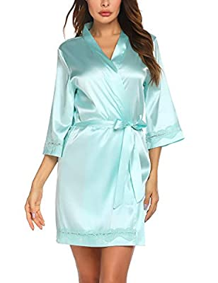 [ Material ]: Silky-Soft And Ultra-Luxe Satin Fabric [Satin & Lace-Trim Short Robe]: Luxurious silky feel and look;Lightweight and comfortable,Shinny and smooth to the touch [Bathrobe features]: Short style,3/4 sleeve,v neck,solid color,lace trim rob...