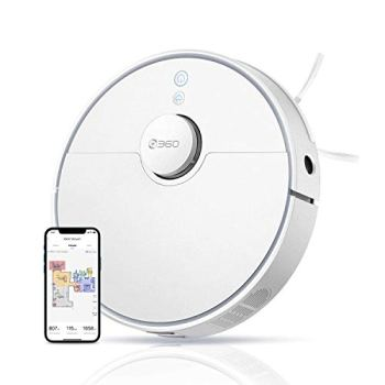 360 S5 Robot Vacuum, Laser Mapping, 2200Pa, Selective Room Cleaning, Schedule, Multi-Floor Mapping, No-Go Zones, Self Charge and Resume, Works with Alexa