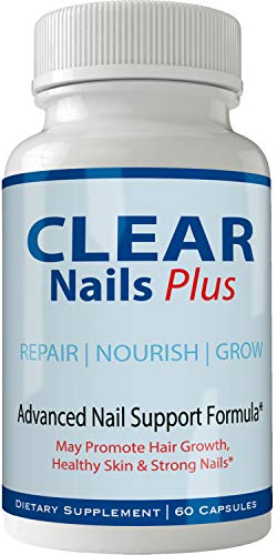 Clear Nails Plus Pills Supplement - Advanced Unique Hair Growth Vitamins and Minerals with Biotin - Gluten Free 60 Capsules - Hair Lash Skin and Nails Extra Strength Formula Growth Booster