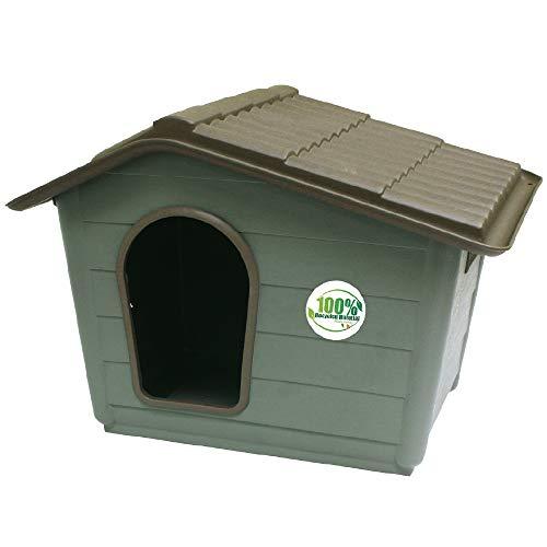 CROCI VILLA, Cuccia per cani, Cuccia in materiali riciclati, Tetto asportabile, Dimensioni 60X50X41 cm