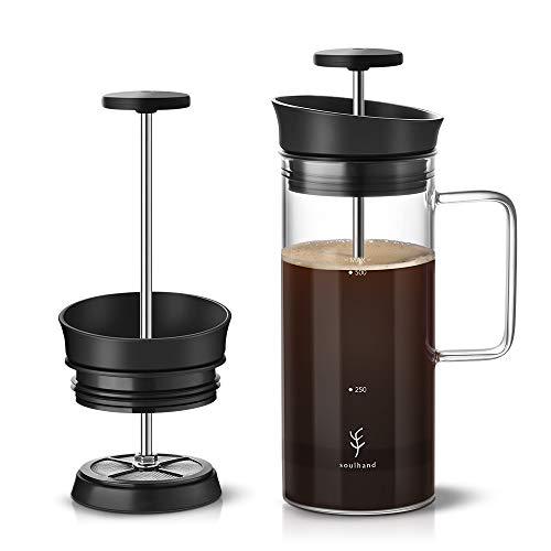 Soulhand French Press Kaffeemaschine Kaffeepresse mit Mikrofilter Rückhalt von Kaffeesatz Hitzebeständige langlebige Borosilikat geeignet für Kaffee & Teekocher 0,5L für Campingreisen im Home Office