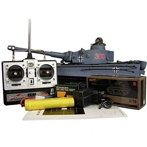 Carro armato RC (radiocomandato) Tiger I con R&S M 1:16, ingranaggio e cingoli in metallo.