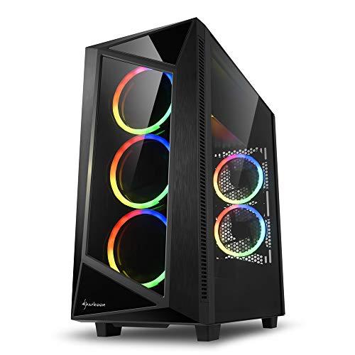 Sharkoon アドレッサブル対応RGBファン5基搭載 強化ガラス製サイドパネル クリスタルを思わせるミニマルな...