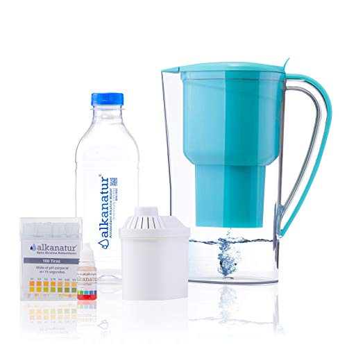 Product Image 1: Alkanatur Alkaline Water Filter Pitcher removes Fluorides, Chlorine, Sodium, impurities, etc, Alkaline, Ionized, Hydrogenated Water, high pH of 9.5, adds Magnesium - Most Certified Pitcher BPA Free