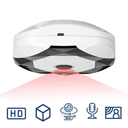 960P HD IP Telecamera WiFi Telecamera di sorveglianza, 360 gradi Telecamera di rete panoramica Telecamera di sorveglianza a infrarossi Videocamera (Bianco)