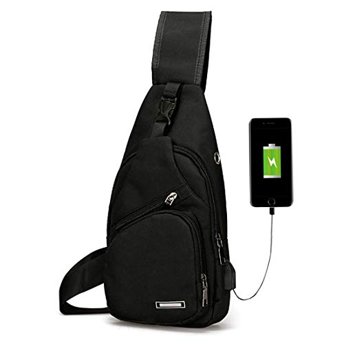 Men's Women's Sling Chest Shoulder Bag Outdoor Travel Crossbody Backpack with USB Charging Port Black