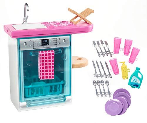 Barbie Set di Arredamenti da Interno, con Lavastoviglie, Sportello Funzionante e Cestello...