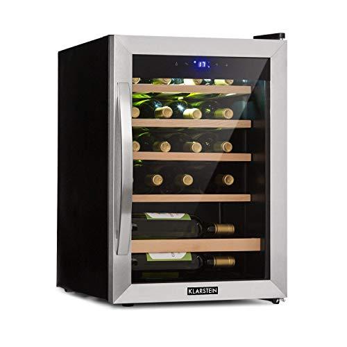 KLARSTEIN Vinamour 19 - Cantinetta Vino con Porta in Vetro, Dispositivo Raffreddamento Vino, 19 Bottiglie, 65 L, 4-18 C, 39 dB, Illuminazione Interna, Touch, Telaio in Acciaio Inox, Nero