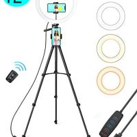 """TaoTronics 12"""" Selfie Ring Light with 3 Color Modes, 10 Adjustable Brightness, 61"""" Extendable Tripod Stand, 2 Phone Holders, Bluetooth Remote Shutter for Photography/Makeup/Live Stream/YouTube/Vlogs"""