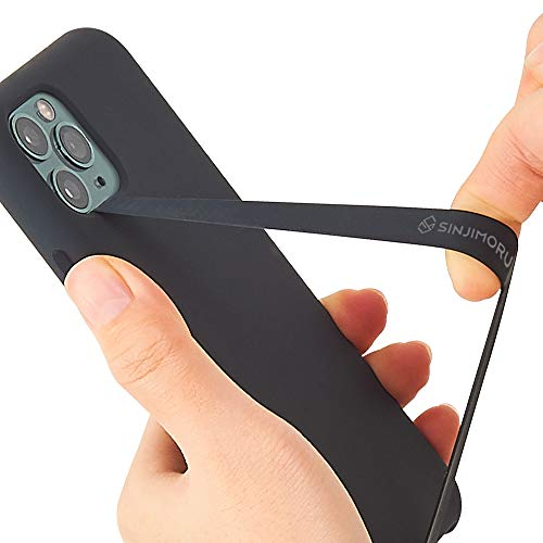 Sinjimoru Silicone Stretching Strap as Phone Grip Holder, Slim Grip Tape for iPhone Case, Secure Phone Strap as Cell Phone Holder. Sinji Loop Black