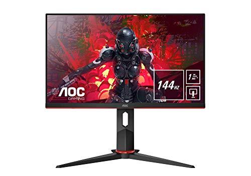 AOC 24G2U/BK Monitor da Gaming Flat 23.8' IPS, Frameless, FHD 1920 x 1080 a 144 Hz, Tempo di Risposta 1 msec/MPRT, 2 x HDMI, 1 DP, 4 x USB, Speaker, Regolabile in Altezza, FreeSync, Nero/Rosso