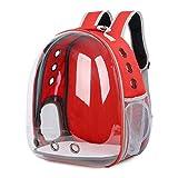 DoubleBlack Portador de Mascotas Mochila Transparente Perros y Gatos Portátiles Bolsa de Transporte al Aire Libre Diseño de Cápsula Transpirable Visitas Guiadas de 180 Grados - Rojo