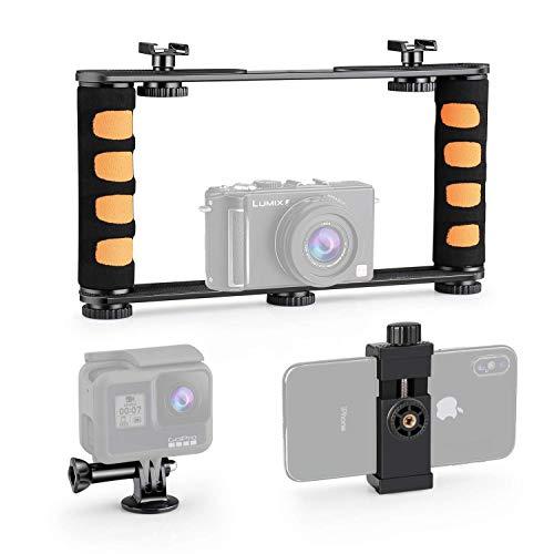 Zeadio supporto video regolabile in metallo, impugnatura stabilizzatore per iPhone, Samsung, tutti gli smartphone, GoPro, Action Camera, fotocamera compatta