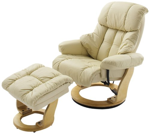 Robas Lund Leder Relaxsessel TV Sessel mit Hocker bis 130 Kg, Fernsehsessel Echtleder creme, Calgary