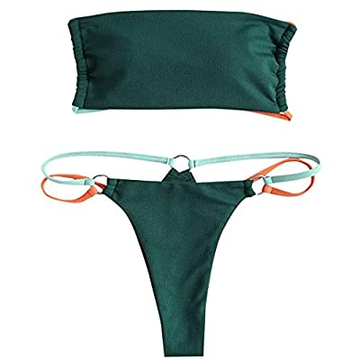 Bikini Material: Polyester,Spandex,textured fabric Bikini Feature:Padded cups,wire free,removable spaghetti straps,high cut bottoms Bikini Set:Extremely cool comfort of this simple bikini to complete your beach style Women two piece swimsuit suitable...
