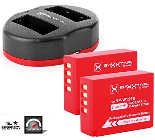 Baxxtar PRO Set - (2X) sostituzione della batteria Fujifilm NP-W126s (NP-W126) con caricabatterie a doppia porta 1818/2 (USB DUAL)