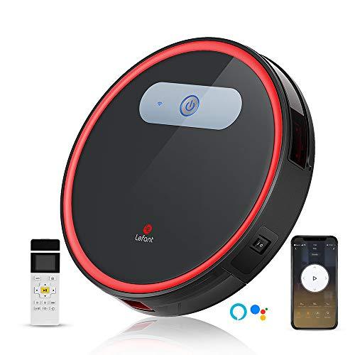 Aspirateur Robot Wifi 2000Pa Forte Puissance d'Aspiration 50dB Silencieux 600ml Boîte de Poussière Autonomie de 120 minutes Contrôle par App/Télécommande pour Poils d'Animaux Lefant-M501B