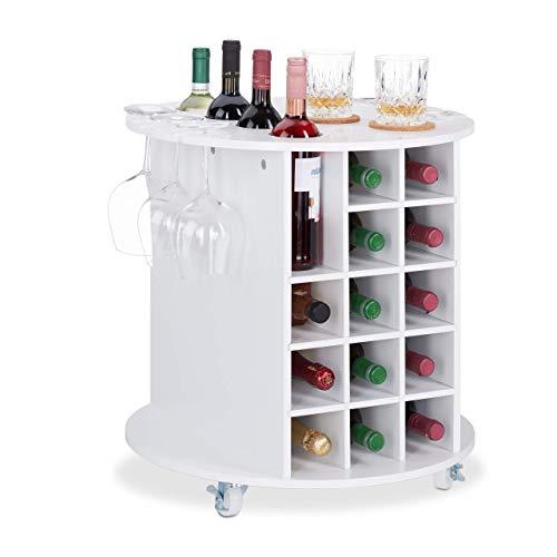 Relaxdays, weiß Weinregal auf 360° drehbaren Rollen, 6 Glashalter, Weinaufbewahrung für 17 Flaschen, rund, HxD: 56x54cm