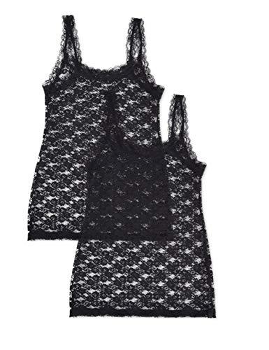 Iris & Lilly Soft Lace Unterhemd, Schwarz (Black), X-Large, 2er-Pack