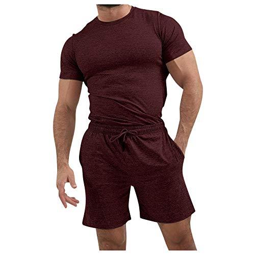 Xmiral Camicie Pantaloncini Pantaloni Set Uomo Estate 2 Pezzi Beach Manica Corta (L,Rosso)