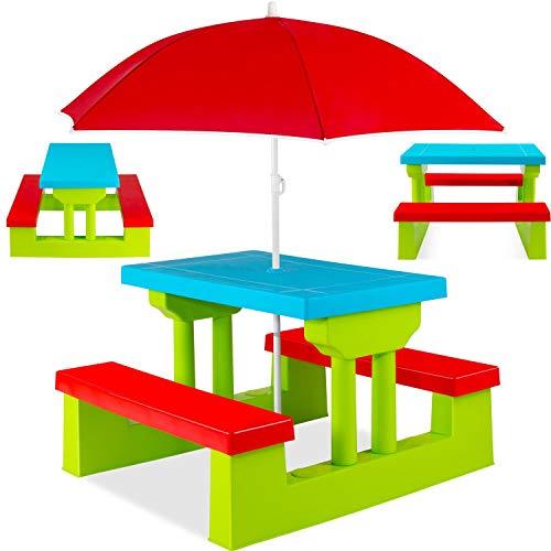 Kesser® Kindersitzgruppe mit Sonnenschirm Kindertisch Picknickset   Sitzgarnitur Tisch und Bänke   Sitzgruppe Kindermöbel Gartenmöbel für Kinder Grün