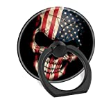 Cell Phone Ring Holder Finger Stand Car Mount Works for iPhone 5 6 7 8 X Plus Samsung Galaxy S8 S9 Ipad-American Flag Skull